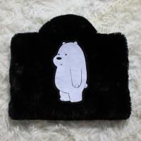 Ice Bear Hitam 13-14 Inch Rasfur Bulu Softcase Tas Laptop Notebook