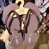 Sandal Jepit Rubi Shoes Maron Gliter