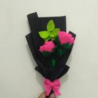 Buket bunga mawar flanel murah