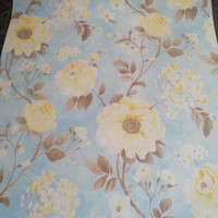 Yellow flower base blue 45 cm x 10 mtr || Wallpaper dinding