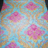 Bunga luxury pink on blue 45 cm x 10 mtr || Wallpaper dinding