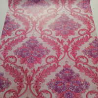 Bunga luxury purple on pink 45 cm x 10 mtr || Wallpaper dinding