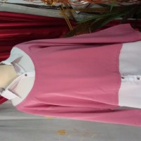 Preloved blouse kemeja warna ping putih