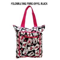 Foldable Bag Paris Eiffel Black Traveling Bag Tas Belanja Lipat Kanvas