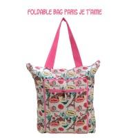 Foldable Bag Paris Je't Aimee Tas Belanja Lipat Kanvas Traveling Bag
