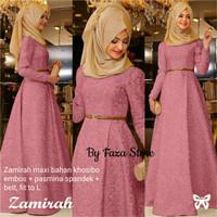 Long dress zamirah maxi bahan khosibo embos+ pasmina spandek + belt