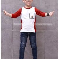 Best Promo! Setelan anak cowok kekinian putih merah fashion & jeans pa