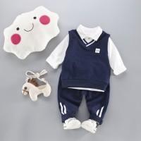 Baju Setelan Anak Laki Cowok Import Kaos Kerah Putih Vest Sweater Biru