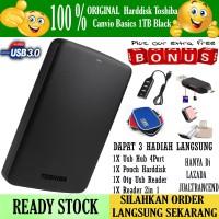 Toshiba Canvio Basics 1TB - HDD / HD / Hardisk Eksternal - Hitam FREE