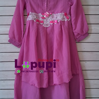 D831 Saffron Gamis Pink Ungu Layer