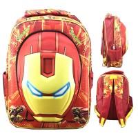 Tas Ransel Sekolah SD Iron Man Kepala 3D Timbul Hard Cover