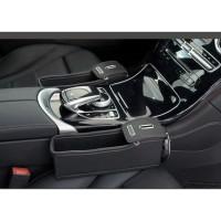 Car Organizer Exclusive Seat Gap Filler Cup Phone Holder PU Leather