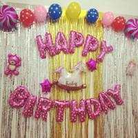 Backdrop Foil Silver / Tirai Rumbai Foil / background ulang tahun