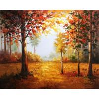 SM742 Hutan landscape frameless diy digital lukisan by numbers kit tan