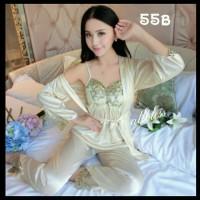 Baju tidur SEXY LINGERIE bunga 3 in 1kimono PIYAMA satin SESERAHAN 55