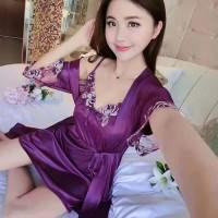 Baju Tidur Kimono Deep Flower Sleepwear Nightdress Cewe Lingerie Murah