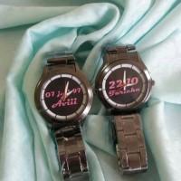 Jam stainless rantai hitam couple custom bisa pakai nama/tanggal/foto
