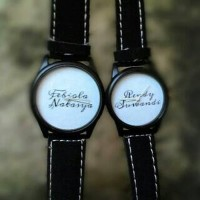 Jam tangan kulit hitam couple custom bisa pakai nama/tanggal/foto
