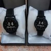 Supplier jam tangan couple kulit hitam pakai nama