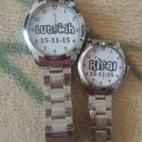Jam stainless rantai silver couple custom bisa pakai nama/tanggal/foto