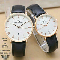 jam tangan couple bahan kulit tanggal aktif / jtr 1194 hitam