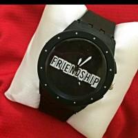 Jam swatch rubber hitam custom bisa pakai nama/tanggal/foto
