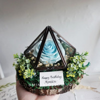 Baby Blue Rose Clay Wooden Terrarium / Kotak Cincin Ring Bearer