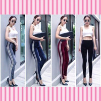 CELANA LEGGING VELVET STRIPE IMPORT WANITA / LEGING THERMAL BLUDRU