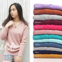 sweater rajut wanita modis roundhand cross baju atasan cewe blouse