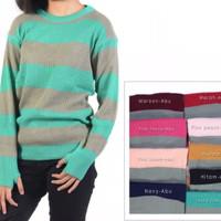 atasan wanita modis roundhand stripe sweater baju rajut cewe blouse