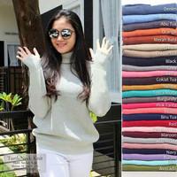 sweater wanita rajut roundhand turtleneck baju atasan muslim blouse