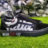 Sepatu sneakers casual vans old skool patta mean eyed cat full hitam