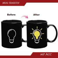 Magic Mug Cangkir Gelas Sensitif Suhu Motif Lampu Bohlam Unik Lucu