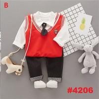 STELAN ANAK KEMEJA PUTIH+ VEST HIJAU + PANTS + DASI(RSBY-4206)
