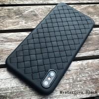 WOVEN case iPhone X - 7 - 8 - 7 Plus - 8 Plus soft cover casing hp tpu - Hitam, IPH X