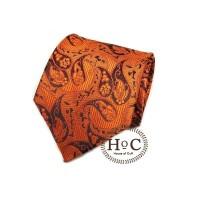 Dasi Neck Tie Motif Wedding Best Man ORANGE BLACK PAISLEY BATIK TIE - 2 inch