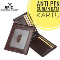 Dompet Kulit Asli Anti RFID Maling Data Lipat Tipis Pria Impor Keren
