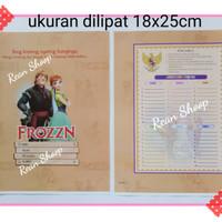 Sampul coklat buku tulis matapelajaran anak sekolah karakter frozen