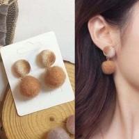 IMPORT Anting Pompom Kain Bulat Stud Earrings 030D5Br-Cr