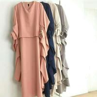 Dress Fatin aksen kerut/Gamis Fatin pastel/Maxi dress pastel
