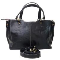 Hand bag wanita kulit sapi asli hitam polos tas jinjing selempang awet