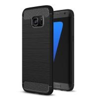 iPaky Carbon Fiber Slim Soft Case Samsung Galaxy S6 S7 S8 S9 Edge Plus - Hitam, S6 Flat