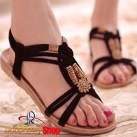 Sandal Selop Wanita Flat Bohemian Summer Black ( Stok Terbatas )