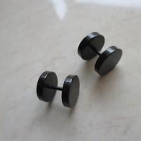 Anting Pria / Wanita Tindik Titanium Black Stainless Steel