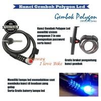 kunci gembok led Sepeda satu set battery best kuality