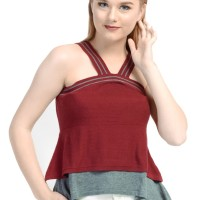 KNITWORK Maroon Double Layer Tank Top