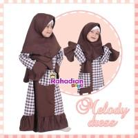 Gamis Anak Melody Dress ori by rahadian Warna Coklat Size M