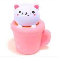 squishy gelas kepala kucing jumbo