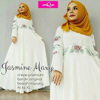 Jasmine Maxy bordir / gamis putih / gamis polos / baju lebaran