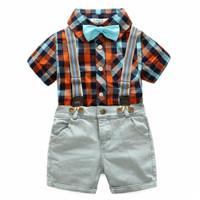 Setelan Baju Anak Cowok Import Boy Set Cute Casual Plaid Shirt Jeans 4